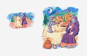 Illustration of a bible scene, John 3, Nicodemus meets Jesus