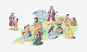 Illustration of a bible scene, John 6, Jesus feeds the 5000