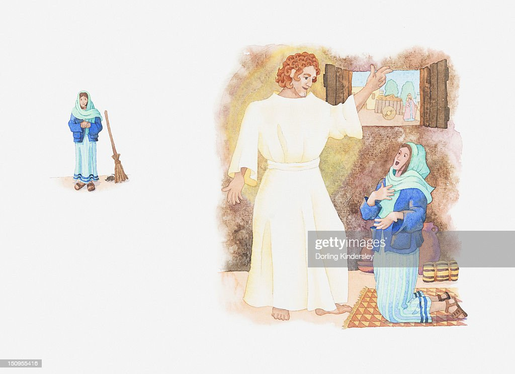 Illustration of a bible scene, Luke 1, Angel Gabriel visits Mary and tells her God wishes her to be mother of his child : Stock Illustration