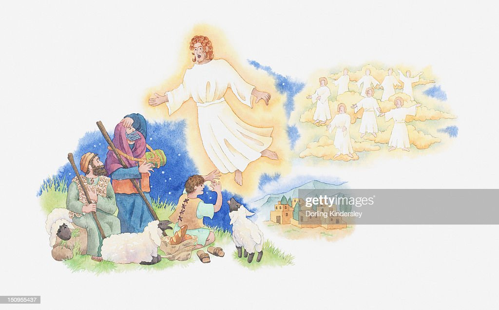Illustration of a bible scene, Luke 2, Gabriel visits the shepherds and tells them where to find the newborn Jesus : Stock Illustration