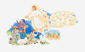 Illustration of a bible scene, Luke 2, Gabriel visits the shepherds and tells them where to find the newborn Jesus