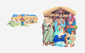 Illustration of a bible scene, Luke 2, the shepherds travel to Bethlehem to see baby Jesus
