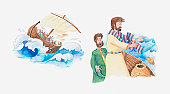Illustration of a bible scene, Luke 8, Jesus calms the storm and saves his disciples