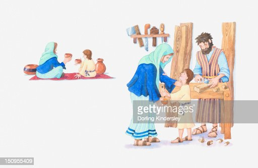 Illustration of a bible scene, Matthew 2, Luke 2, young Jesus growing up in Nazareth : Stock-Illustration