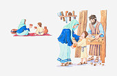 Illustration of a bible scene, Matthew 2, Luke 2, young Jesus growing up in Nazareth