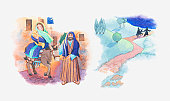 Illustration of a bible scene, Matthew 2, Mary and Joseph flee Bethlehem for Egypt to save Jesus from King Herod