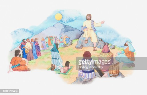 Illustration of a bible scene, Matthew 5, Jesus gives a sermon from the summit of a mountain : Stock-Illustration