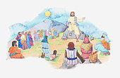 Illustration of a bible scene, Matthew 5, Jesus gives a sermon from the summit of a mountain