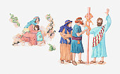 Illustration of a bible scene, Numbers 21, God punishes the Israelites for speaking against him by sending fiery serpents, the Israelites pray to God who instructs Moses to make a pole with a brass serpent on it that will heal those who look upon it