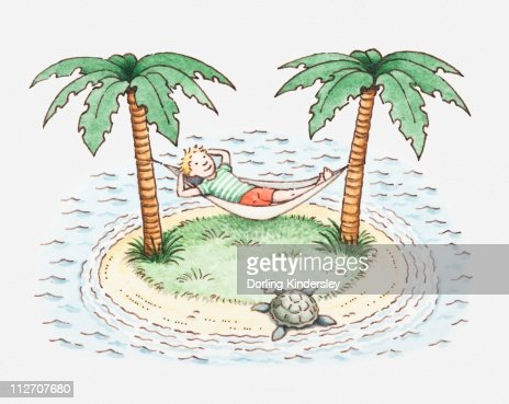 Illustration of a boy in hammock on a small island : Stock Illustration