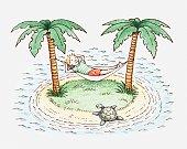 Illustration of a boy in hammock on a small island