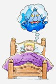 Illustration of a boy lying in bed, thought bubble with monster inside it above his head