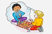 Illustration of a boy playing a board game, thought bubble showing imaginary friend