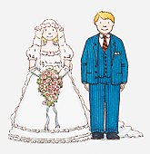 Illustration of a bride and groom