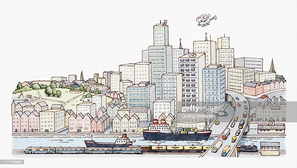 Illustration of a city with skyscrapers, ships on river, and cars crossing a bridge : Stock Illustration