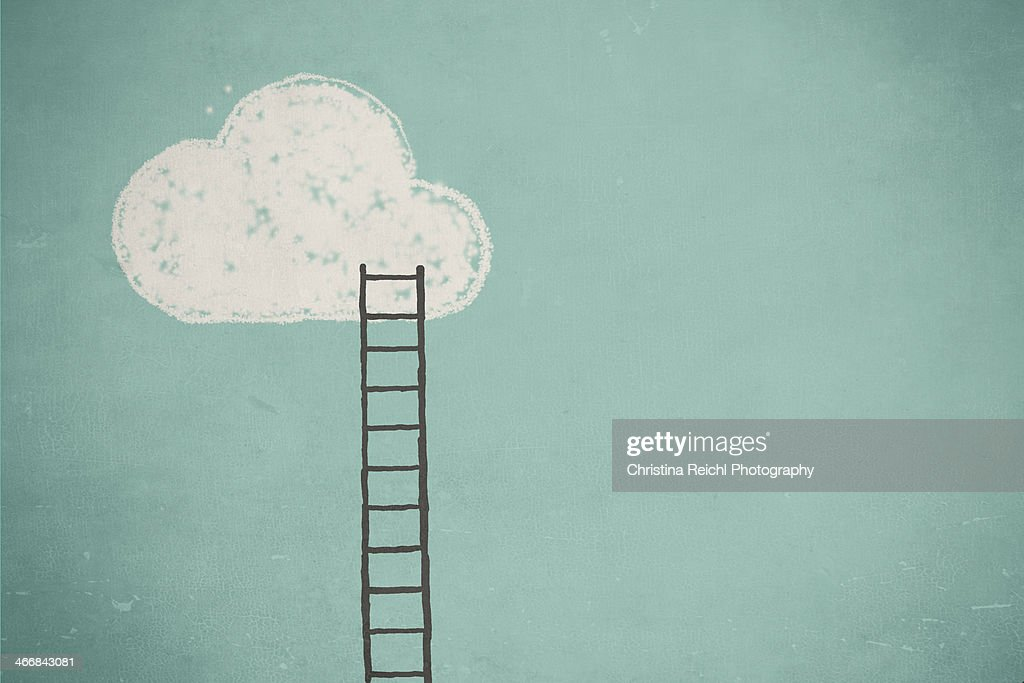 Illustration of a cloud and a ladder : Stock Illustration