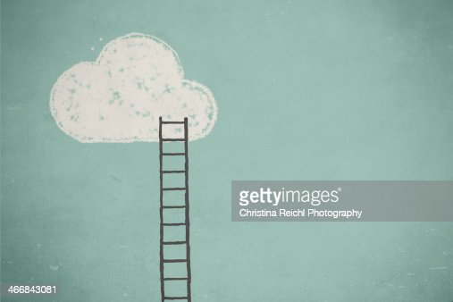 Illustration of a cloud and a ladder : Ilustração de stock