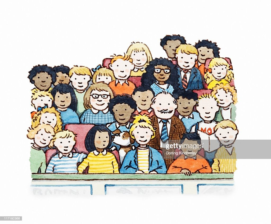 Illustration of a crowd of spectators : Stock Illustration