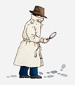 Illustration of a detective holding magnifying glass and looking at shoe prints on the ground