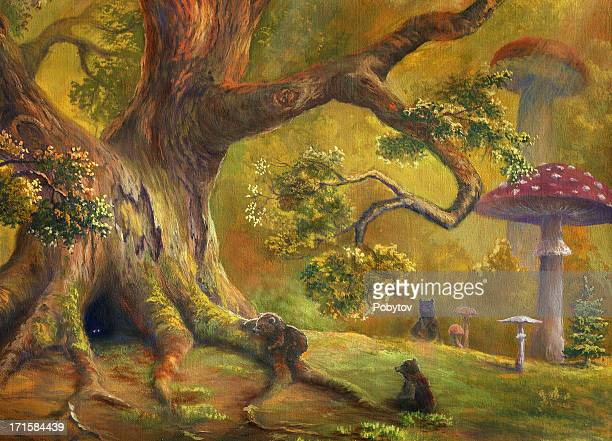 A illustration of a fairy tale forest