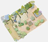 Illustration of a garden containing gravelled area interspersed with plants, paved seating area, and tiled area