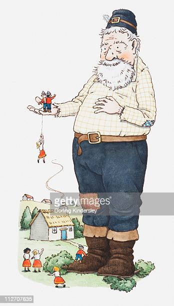 Illustration of a giant with tiny people on his hand and to his feet