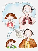 Illustration of a girl next to man smoking a pipe, thought bubble showing healthy lung and smoker's lung