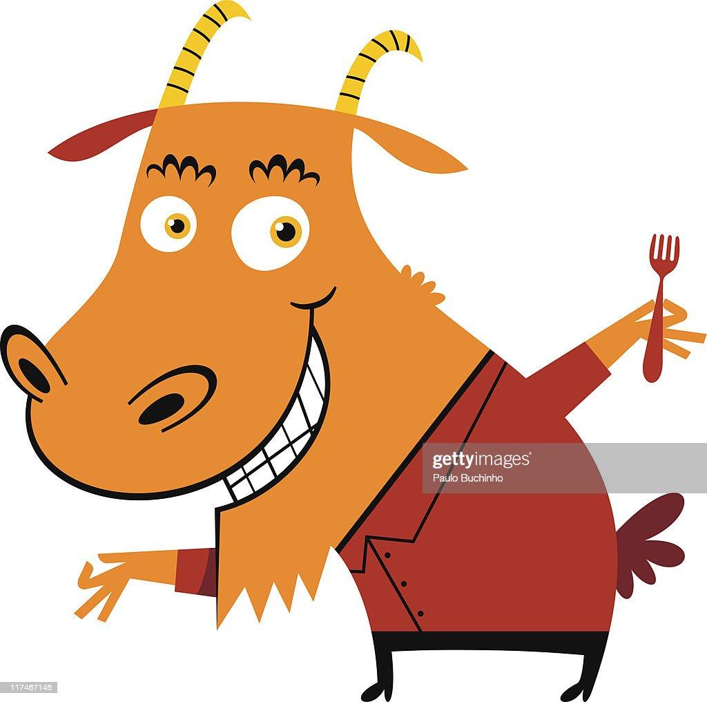Illustration of a goat holding a fork : Stock Illustration