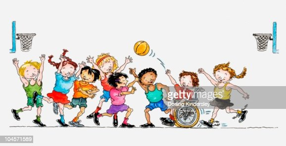 Illustration of a group of children including a child in a wheelchair playing basketball together : Ilustración de stock