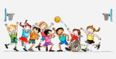 Illustration of a group of children including a child in a wheelchair playing basketball together