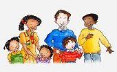 Illustration of a group of people of different ethnicities, a father with son, and a mother and father with two children