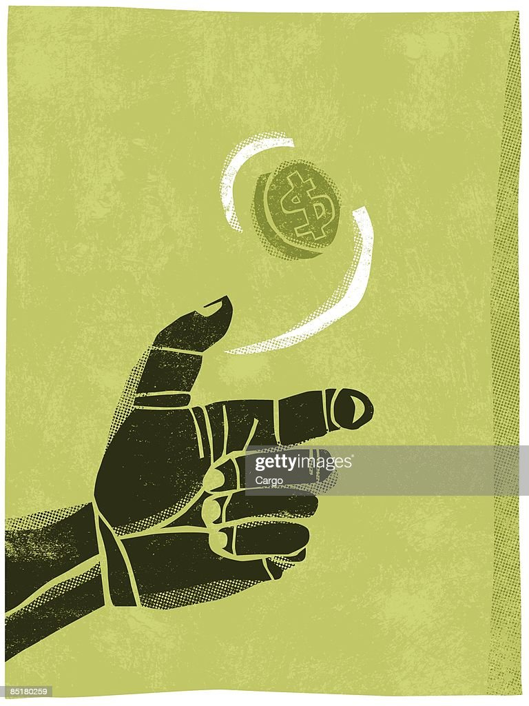 Illustration of a hand flipping a coin in the air : Stock Illustration