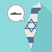 Illustration of a long shadow Israel map with its flag and a comic balloon with a military warship