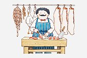 Illustration of a man in butcher's shop chopping meat