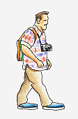 Illustration of a man in casual clothes carrying a camera around his neck