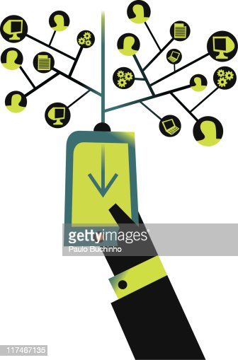 Illustration of a mobile phone with a network of uses : Stock Illustration