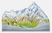 Illustration of a mountain landscape with snowcapped mountains
