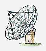 Illustration of a radio telescope