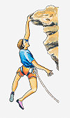 Illustration of a rock climber hanging onto the edge of a rock with one hand