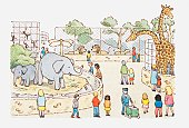 Illustration of a scene in a zoo