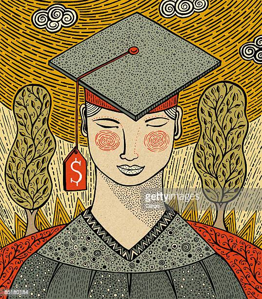 Illustration of a student in graduation attire, with a price tag hanging off the cap