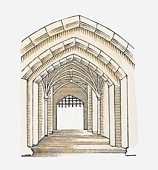 Illustration of a Tudor arch, Tower of London, London, England, c. 1086-1097
