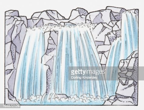Illustration of a waterfall : Stock Illustration