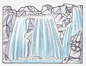 Illustration of a waterfall