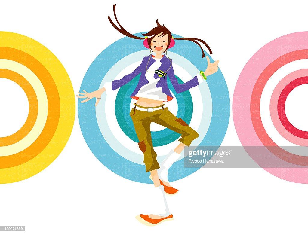 Illustration of a woman dancing in front of colored targets : Stock Illustration