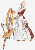 Illustration of a woman using a spinning wheel, girl clutching the woman's skirt