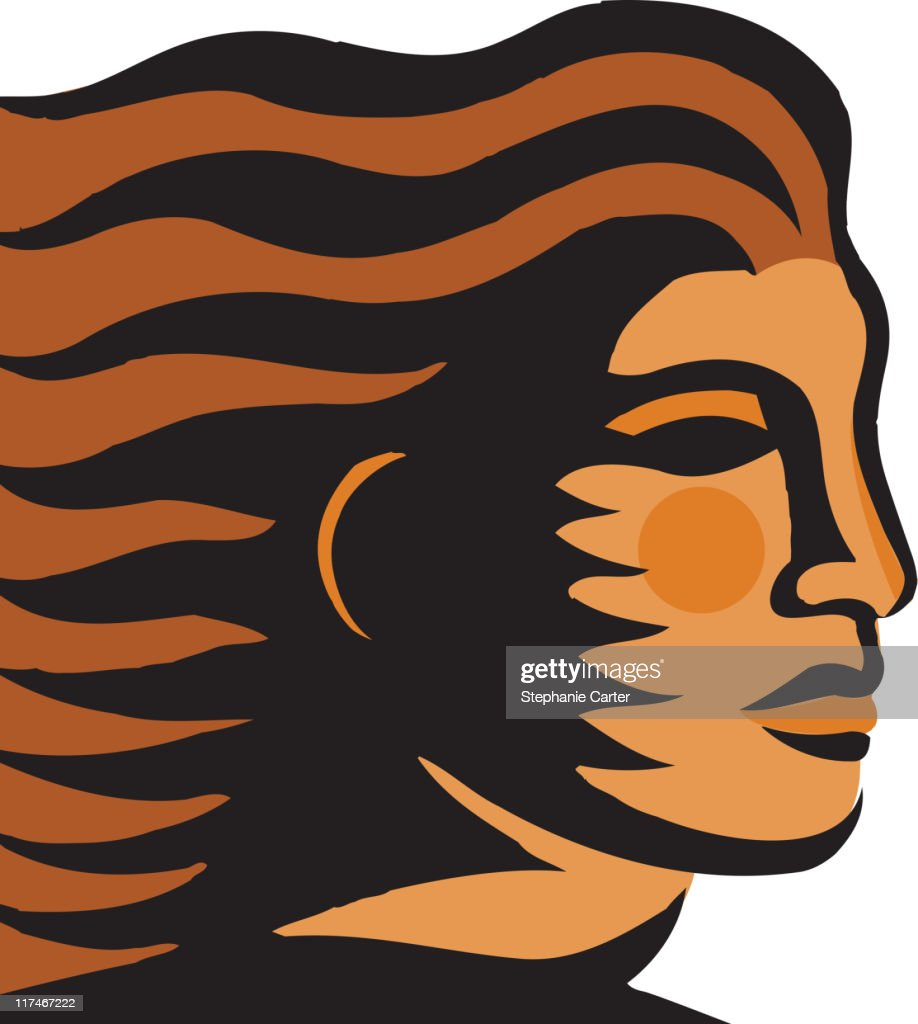 Illustration of a woman with hair blowing in the wind : Vector Art