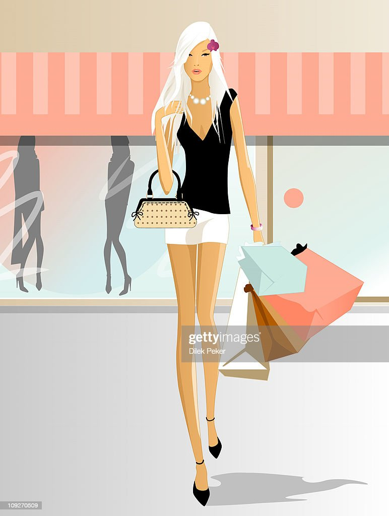 Illustration of a woman with many bags of shopping : Stock Illustration