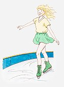 Illustration of a young girl ice skating