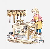 Illustration of a young woman sawing wood in a workshop